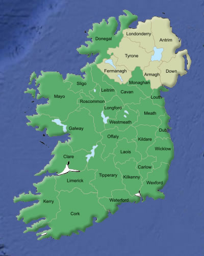 Ireland Genealogy and County Map
